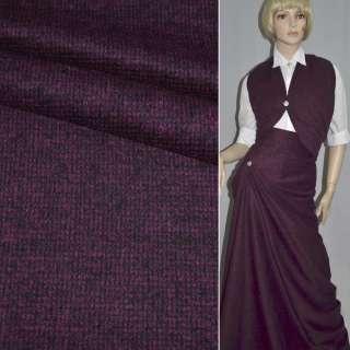 Ткань костюмная в мелкую черно-малиновую клетку ш.150
