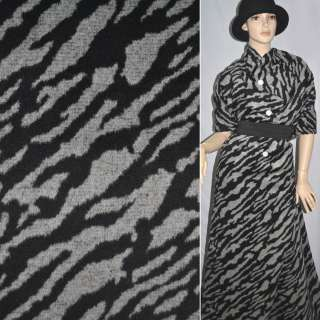 Тканина пальтова сіра з чорними розводами ш.150
