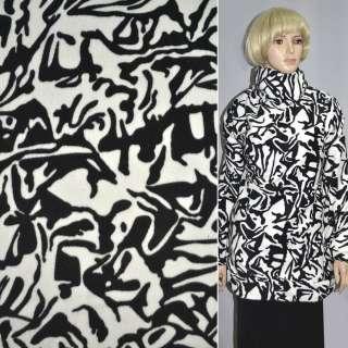 Ворсова пальтова чорно біла абстракція ш.150