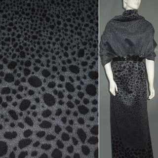 Тканина пальтова сіра в чорні овали (рапорт) ш.150