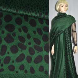 Ткань пальтовая зеленая в черные овалы (рапорт) ш.150