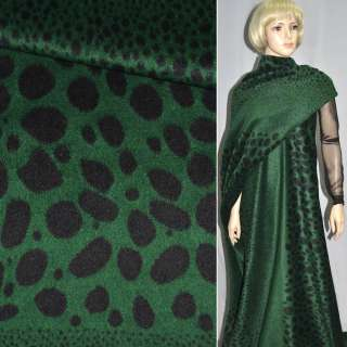 Тканина пальтова зелена в чорні овали (рапорт) ш.150