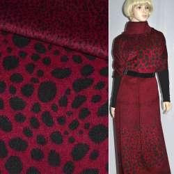 Ткань пальтовая красная в черные овалы (рапорт) ш.150