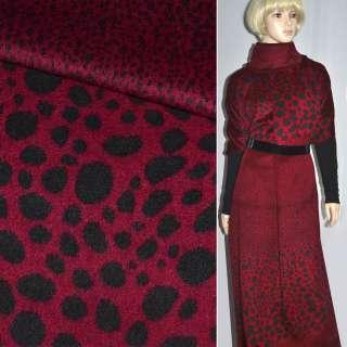 Тканина пальтова червона в чорні овали (рапорт) ш.150