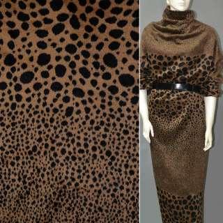 Тканина пальтова коричнева світла в чорні овали (рапорт)