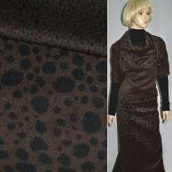 Ткань пальтовая коричневая в черные овалы (рапорт) ш.1
