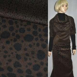 Тканина пальтова коричнева в чорні овали (рапорт) ш.1