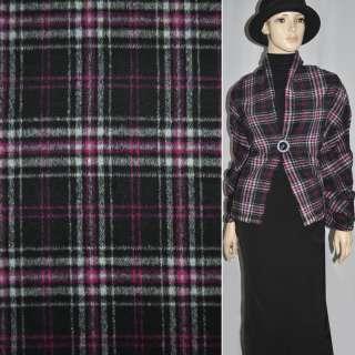 Ткань пальтов. черная в малиново-белую клетку  шир.150