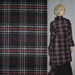 Ткань пальтов. черная в красно-белую клетку  шир.150