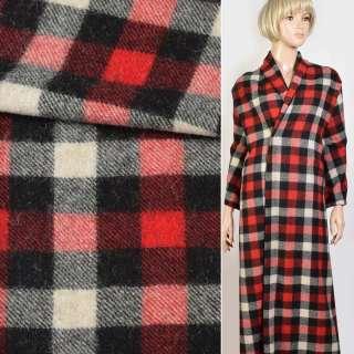 Кашемір пальтовий в клітку біло-червоно-чорний, ш.150