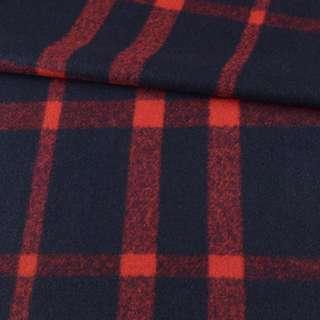 Пальтовая ткань с ворсом в клетку крупную красную, синяя, ш.150