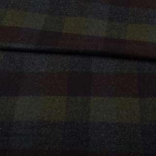 Шотландка пальтова оливкова в коричнево-синю клітку ш.150