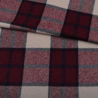 Шотландка пальтова бежева в велику бордово-сіру клітку ш.150