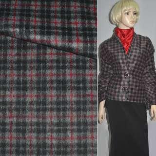 Ткань пальтовая серая в черно-красную клетку ш.150