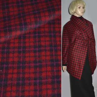 Ткань пальтовая красная в черную клетку ш.150 см.