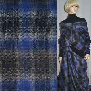 Ткань пальтовая в черно-синюю клетку шир. 150 см.