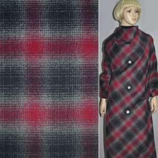 Ткань пальтовая  в черно-красную клетку шир. 150 см.