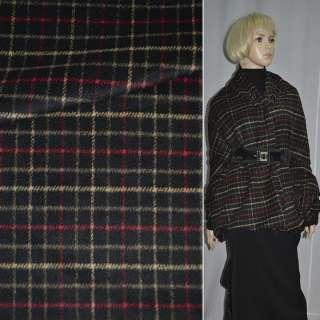 Ткань пальтовая черная в красно-желтую клетку ш.150