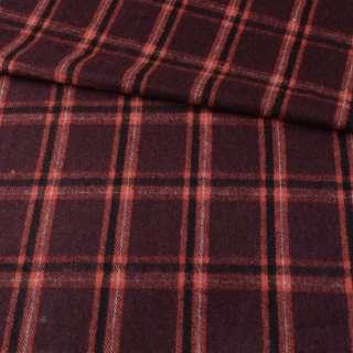 Пальтовая ткань в клетку оранжевую на коричневом темном фоне, ш.150