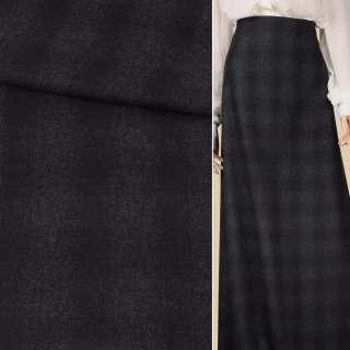 Шотландка костюмная фиолетовая клетка на сером темном фоне, ш.150