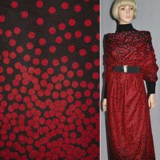 Ткань пальтовая черная с красными кругами на трикотажной основе ш.150