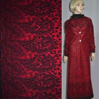 Пальтовка красная с черным 2-ст. купоном (леопард) ш.150