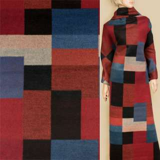 Кашемір в синій, червоний, чорний, помаранчевий геометричний візерунок, ш.155