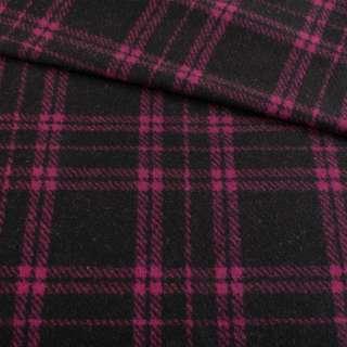 Кашемір пальтовий чорний в фіолетову клітку, ш.150