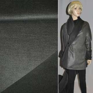 Ткань пальтовая 2-ст. серо-черная ш.150
