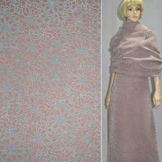 Ткань пальтовая на трикотажной основе терракотовая светлая с серыми ромашками из флока ш.150