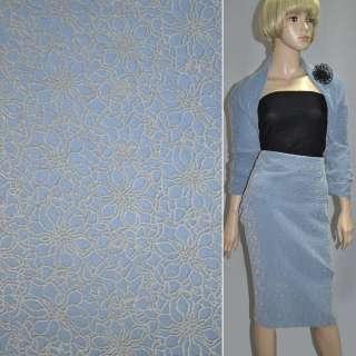Ткань пальтовая на трикотажной основе голубая с серыми ромашками из флока ш.150