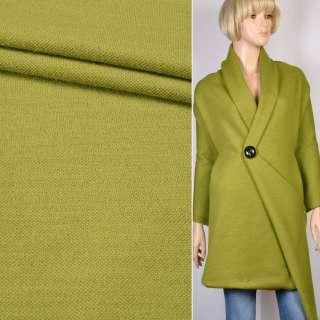 Пальтовый трикотаж двухслойный зеленый (латунный) ш.150