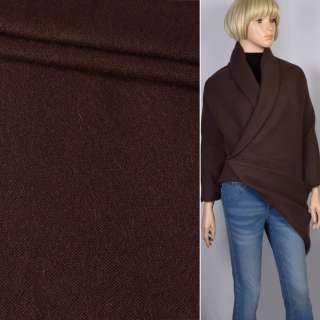 Пальтовый трикотаж двухслойный коричневый темный ш.150