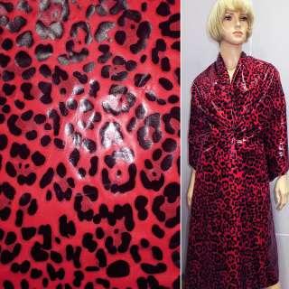 """плащевка красная с черным  """"леопард"""" ш.150"""