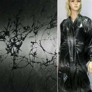 ткань плащевая серая с черной абстракцией ш.150