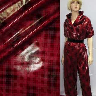 ткань плащевая красная в черный горох ш.150