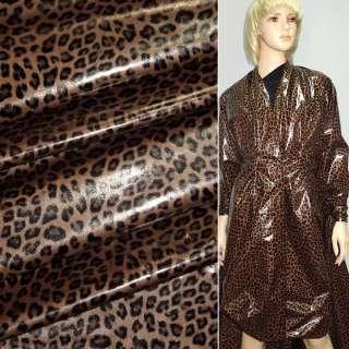 """Ткань плащевая коричневая светлая с черным """"леопард"""" ш.150"""