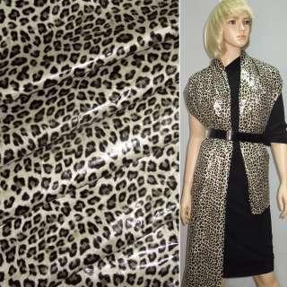 """ткань плащевая св/бежевая с черным """"леопард"""" ш.150"""