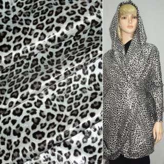 "ткань плащевая молочная с черным ""леопард"" ш.150"