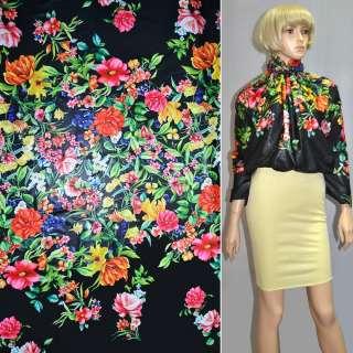 Ткань плащевая тонкая черная с разноцветными цветами ш.150