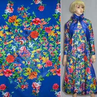 Ткань плащевая тонкая синяя (электрик) с разноцветными цветами ш.150