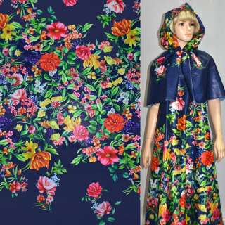 Ткань плащевая тонкая синяя с разноцветными цветами ш.150