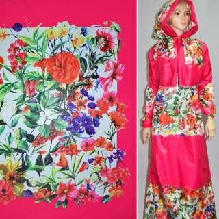 Ткань плащевая малиновая с разноцветными цветами (рапорт) ш.150