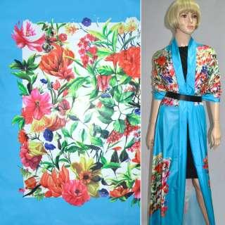 Ткань плащевая голубая с разноцветными цветами (рапорт) ш.150