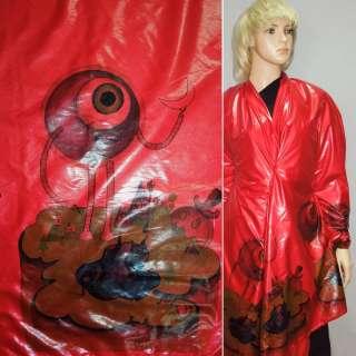 Ткань плащевая красная с 2-ст. цветочным купоном ш.145