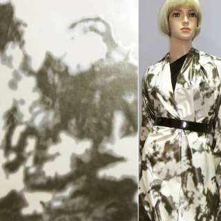 Тканина плащова біла в сірий абстрактний малюнок ш.140