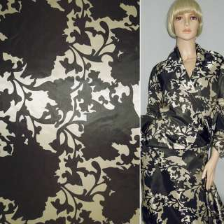 Тканина плащова камуфляж в коричневі квіти, ш.150