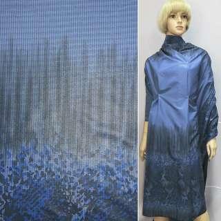 Ткань плащевая купон синяя на трикотажной основе, ш.150