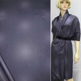 Ткань плащевая фиолетовая в клетку и пятна, на трикотажной основе, ш.150