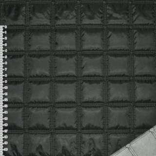 "ткань плащевая стеган. черная матовая ""квадраты"" ш.143"